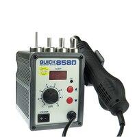 Vender QUICK 858D pistola de aire caliente ajustable sin plomo con viento helicoidal 580W SMD Estación de
