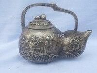 Asian chinês decoração da sua casa em forma de Cabaça garrafão  tutoria quatro Antigo tibete prata Esculpida Viagem bule de chá|pot plant|pot servicepot smoking -