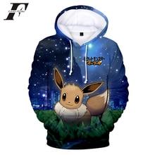 79c71724634 LUCKYFRIDAYF 2018 Game Pokemon Go Pikachu Eevee 3D oversized Hoodies  sweatshirts Men Women Kawaii Anime