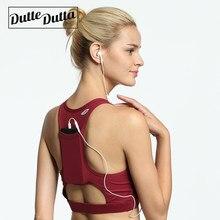 cc2285325c Duttedutta High Elastic Sports Bras Compression Tops with Phone Pocket  Racerback Yoga Bra Sports Wear For