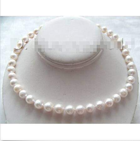 FREE SHIPPING Edison pearls10mm white round natural SOUTH Reborn keshi pearls necklace b0830^^^@^Noble style Natural Fine jewe