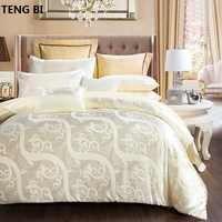 100% хлопок, роскошный Шелковый Комплект постельного белья с вышивкой, постельное белье Тенсел, сатиновая простыня, набор жаккардовых постел...