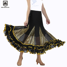 Swing Latin Ballroom Dance Skirt Square Dancing Sequined Dresses Sequins Modern Social National Standard Waltz Dress