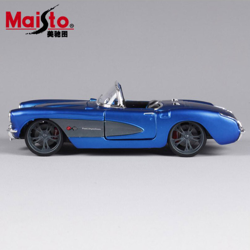 124 Bsculas 1957 Chevrolet Corvette Antiguo Metal Diecast Race