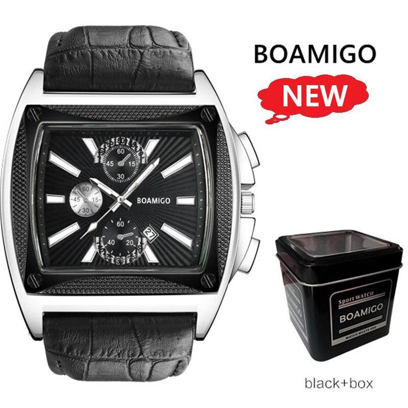 Brand Watches Men Luxury BOAMIGO Square Quartz Wrist Watch Genuine Leather Strap Auto Date Waterproof Clock relogio masculino цена