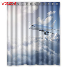 WONZOM Aircraft Polyester Fabric Curtains with 12 Hooks For Bathroom Decor Modern Bath Waterproof Curtain Accessories