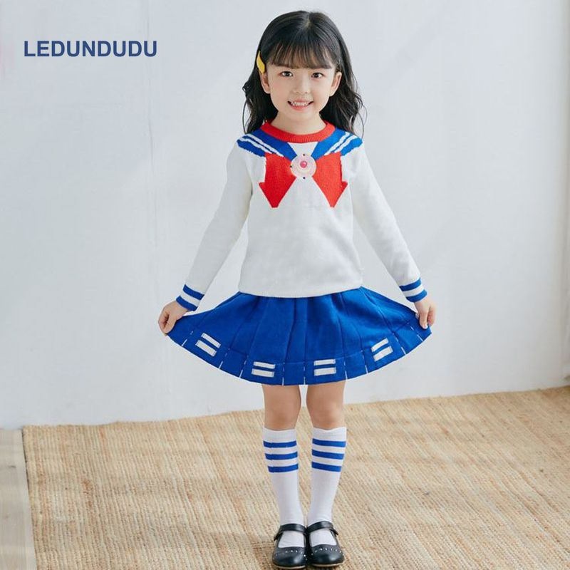 Anime Sailor Moon Crystal Cosplay Costumes Tsukino Usagi Girls Kids Tops + Skirts Children School Uniform for Halloween Party