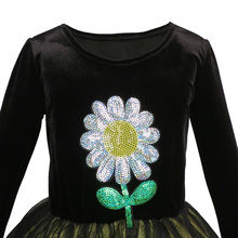 Flower Embroidered Long Sleeve Tulle Party Dress Size 5-12