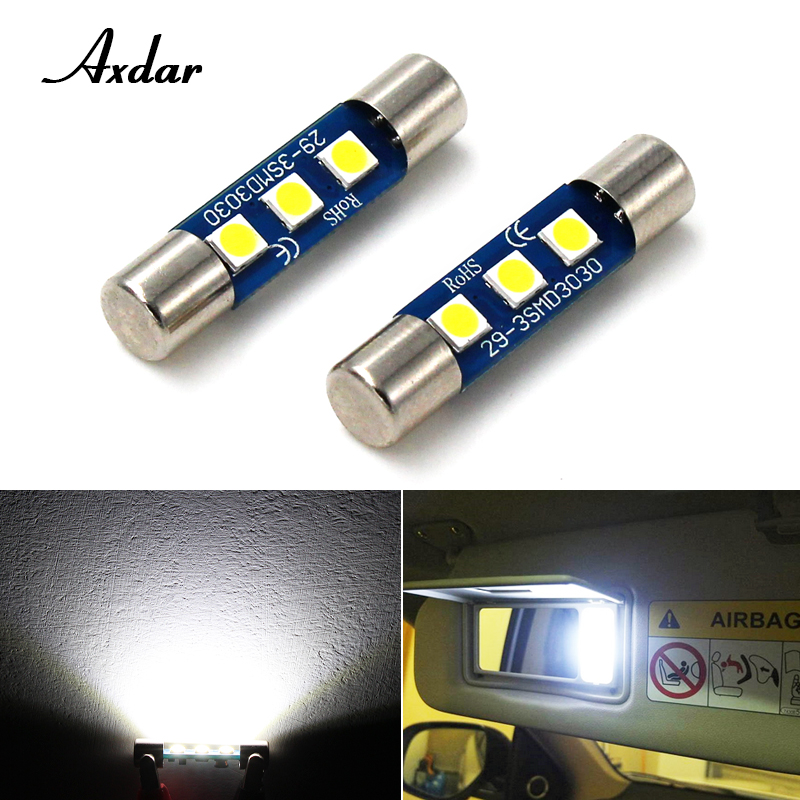 2 Pcs Axdar 350lm 3030 3SMD Festoon 28mm 29mm 6614 Canbus Error Free LED Bulbs For Car SUV Truck Sun Visor Vanity Mirror Light 2pcs brand new high quality superb error free 5050 smd 360 degrees led backup reverse light bulbs t15 for jeep grand cherokee