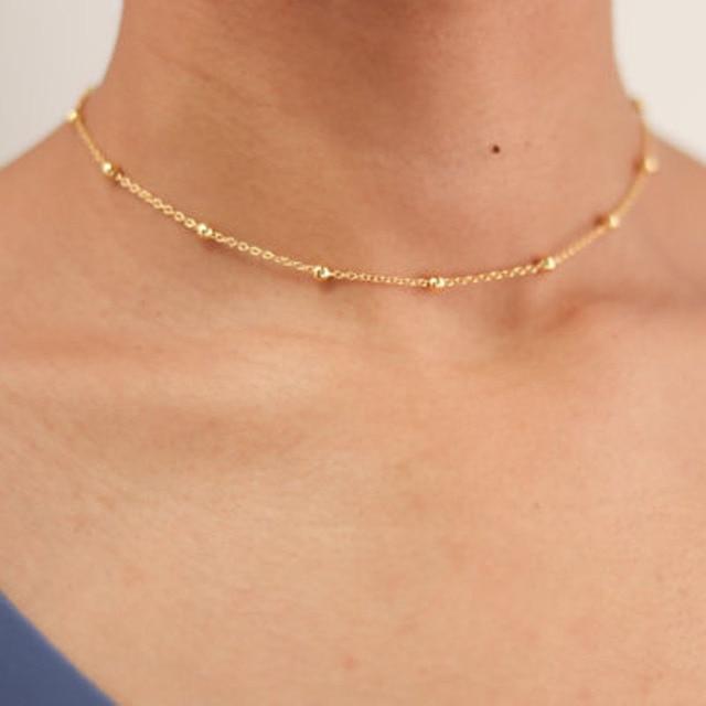 Minimalista moda Silver & Gold Beads Gargantilha Colar para As Mulheres Menina Jóias Gargantilhas colar collares