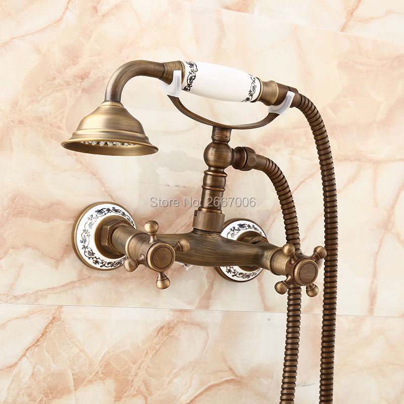 Free shipping Vintage Telephone Style Antique Brass Shower Faucet Ceramic Handle Mixer Wall Mounted Bathroom Shower Set ZR013 free shipping wall mounted two handle thermostatic shower faucet thermostatic mixer shower taps chrome finish yt 5301 b