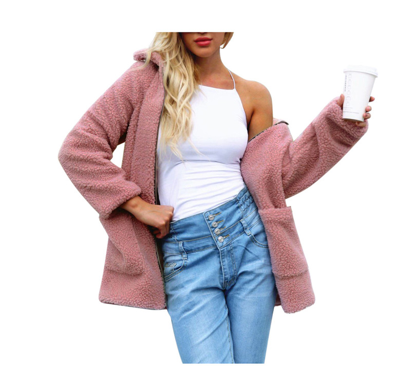 Europe and the United States street photo lapel imitation fur plush coat multi-color long wool coat (8)
