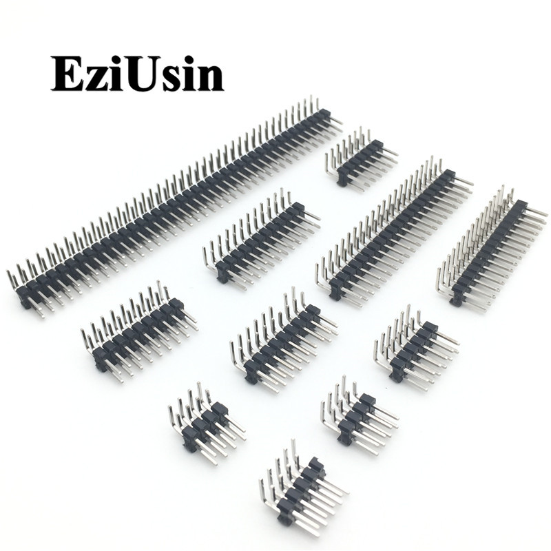R/A 2.54mm Double Row Right Angle Male Breakaway PCB Board Pin Header Connector Pinheader 2 * 3/4/10/12/15/40Pin For Arduino