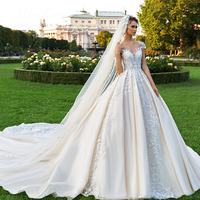 Ashley Carol Sexy Scoop Short Beaded Appliques Tulle Wedding Dress 2019 Luxury Royal Train Princess Bride Dresses Wedding Gowns