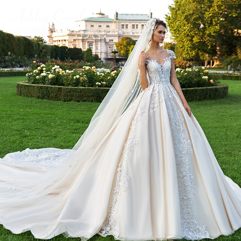 Ashley Carol Short A Line Wedding Dresses 2020 Sweetheart Luxury Beaded Appliques Button Princess Bride Cathedral Bridal GownsWedding Dresses   -