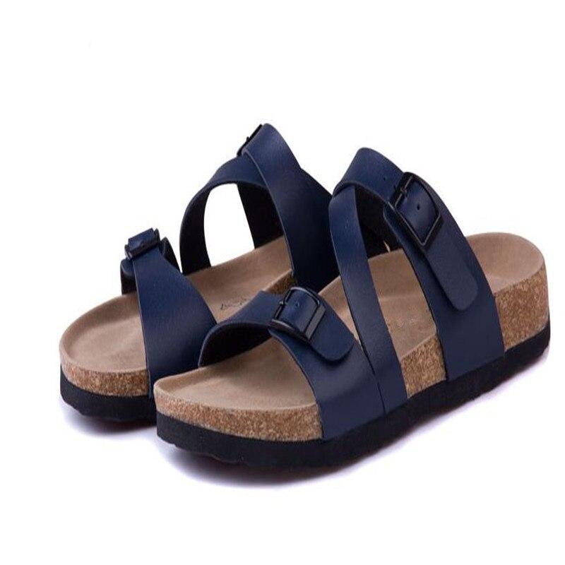 2019 New Male Fashion Cork Slipper Sandals  Summer Men Patchwork Beach Slides Double Buckle Flip Flops Shoe brown black