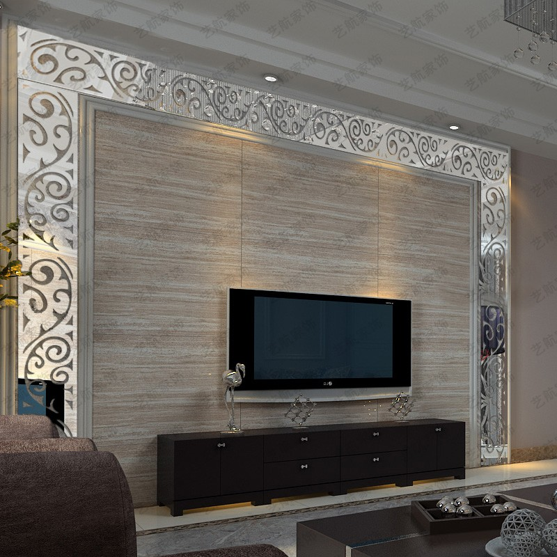 Mirrored Wall Decals 3d acrylic mirror wall stickers tv background wall waistline