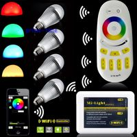 4PCS Milight 2.4G E27 9W RGBW RGB+Warm White Full Color Dimmable WiFi LED Bulb FUT016 + 4 Zone RF Remote + Wifi Controller