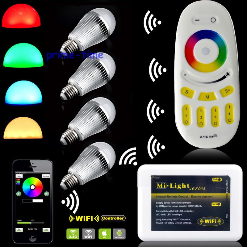 4PCS Milight 2.4G E27 9W RGBW White or RGB Warm White Full Color Dimmable WiFi LED Bulb + 4-Zone RF Remote + Wifi Controller e cap aluminum 16v 22 2200uf electrolytic capacitors pack for diy project white 9 x 10 pcs