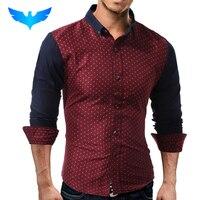 QINGYU Brand 2017 Fashion Male Shirt Long Sleeves Tops Fashion Splicing Small Mushrooms Mens Dress Shirts