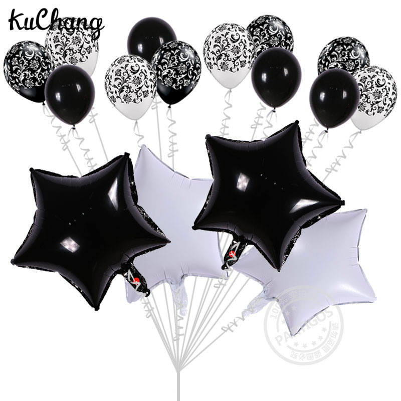 16pcs Lot 18inch White Star Foil Helium Balloons 12inch Damask Latex