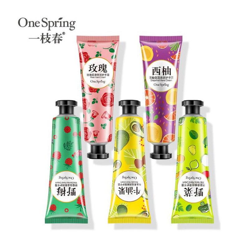 One Spring Plants Hand Cream Set 5pcs Moisturizing Hand Cream Nourishing Anti Chapping Oil Control Hand Care