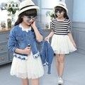 QYSZ 3-14Years Velho Crianças Conjunto Vestido de Moda Denim Casaco + Vestido Da Listra Agradável da Menina Moda Vestido Bom Duas Peças Conjunto vestido
