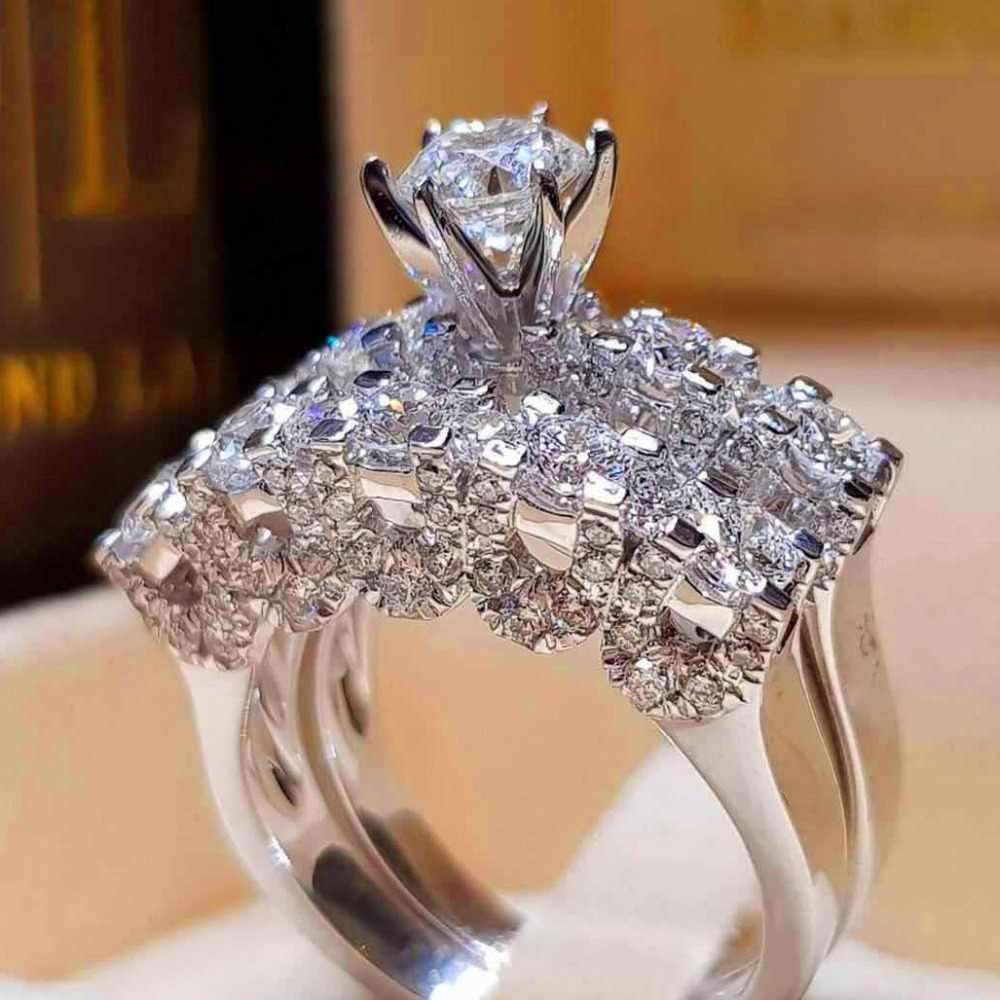 Boho หญิงคริสตัล Zircon แหวนแฟชั่น 925 เงินเงินแหวนสัญญาหมั้นแหวน