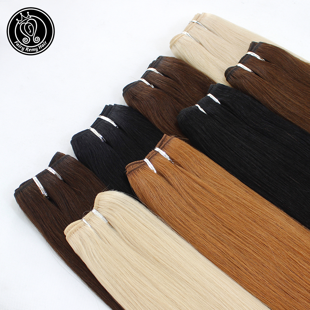 Fairy Remy Hair 22 inch Double Drawn Natural Remy Human Hair Weft Highlight Blonde Color Straight Bundles Hair Extensions 100gHair Weft   -