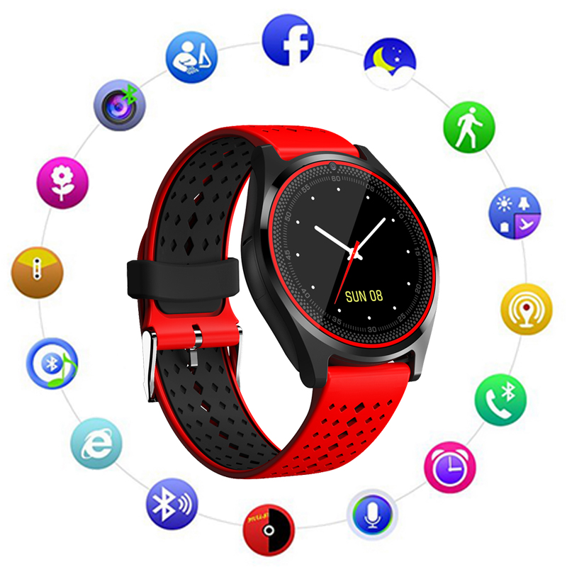 Sograce V9 Smart Watches With Camera Bluetooth Smartwatch SIM Card Wristwatch for Android Phone Wearable Devices PK Q18 X6 DZ09