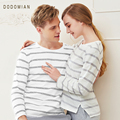 ¿ QUÉ MIAN Pareja Amante Pijama Conjunto Pijama de Rayas Sexy Soft Casa Desgaste 100% Algodón de La Raya Tops + Pants