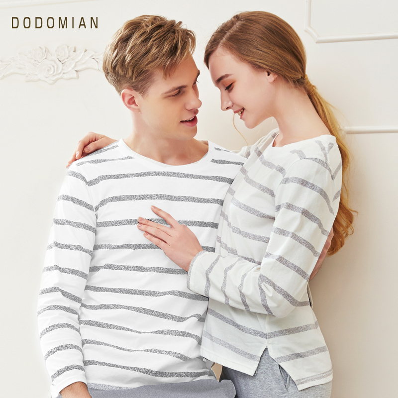 DO DO MIAN Couple   Pajama     Sets   Striped Sexy Lover Pijama   Set   Soft House Wear Cotton Stripe Tops+ Pants
