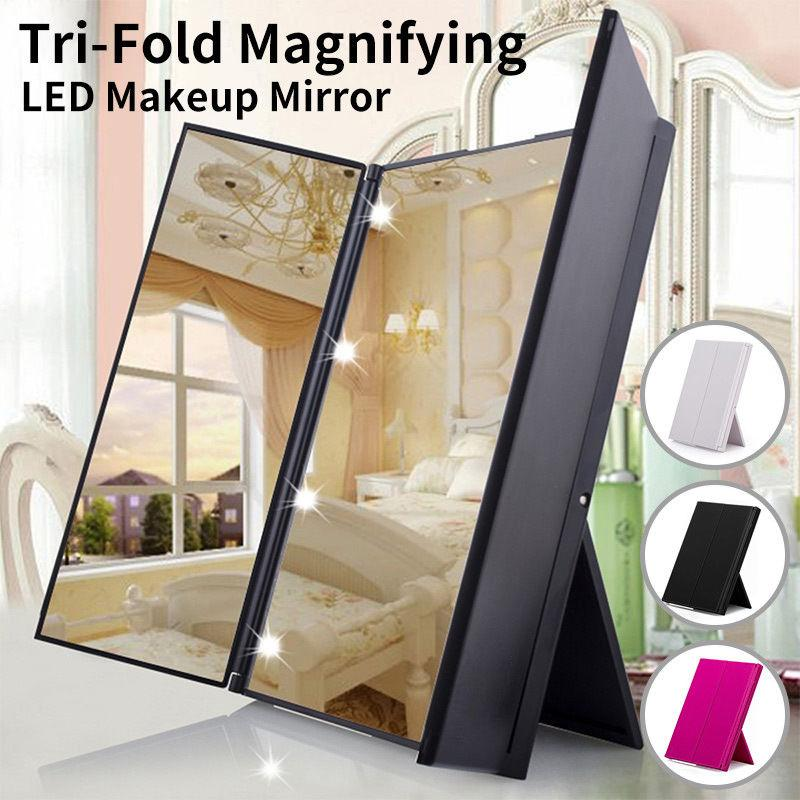 Tri-Fold Lighted Travel Makeup Mirror Led Folding Mirrors Illuminating Foldable Mirror animal print square foldable mirror