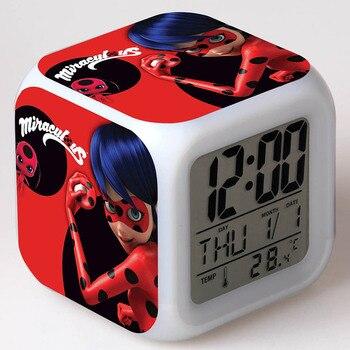 Божья коровка ЛЕДИ фигурки аниме будильник светодиодный красочные вспышки Light Touch Lady Bug ТВ мультфильм Figuras игрушки для детей