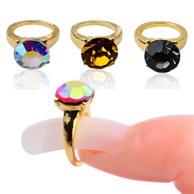 Silver Gold Alloy Nail Rings with Glitter AB Rhinestones Nail Art Decorations in Rhinestones Decorations from Beauty Health