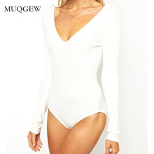 853fbc97f4 Women Fashion Solid V-Neck Stretch Long Sleeve V Neck Plunge Leotard Tops  Sexy Bodysuit