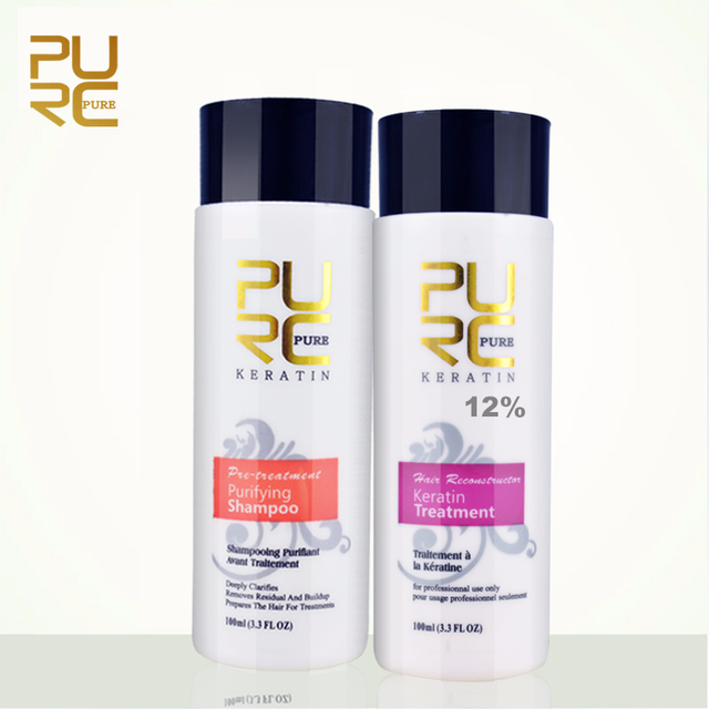 PURC 12% formalin keratin hair treatment and purifying shampoo hair care products set 2018 Brazilian keratin free shipping