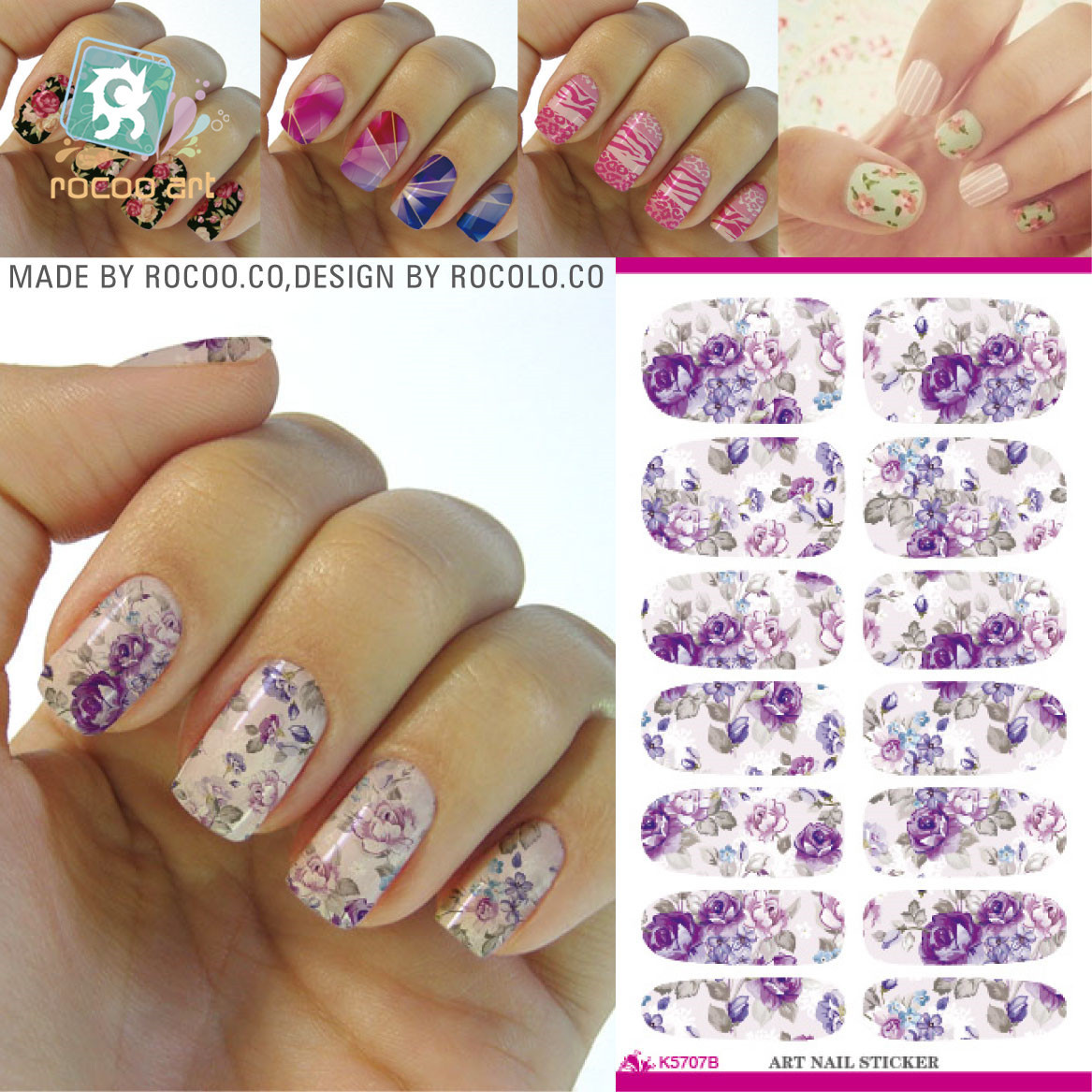Water Transfer Stickers Full Tide Of Environmental Manicure Nail Make-up Accessories K5707b