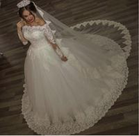 real sample long sleeve off the shoulder vestido de noiva plus size white ivory wide lace Mother of the Bride Dress bridal gown