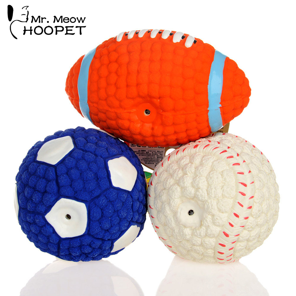 Hoopet Pet Dog Resistant To Bite Toy Environmental Protection Latex Balls Squeak Toys Interesting Tennis Football Tooth Cleaning