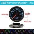7-Color-in-1 60mm Temperatura Da Água Medidor Medidor com Display LCD de Peças de Automóvel de Corrida Calibre Temperatura Da Água
