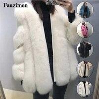 Привлекательное натуральное лисьее меховое пальто женское зимнее плотное меховое пальто лисий мех Меховая куртка Верхняя одежда женские т