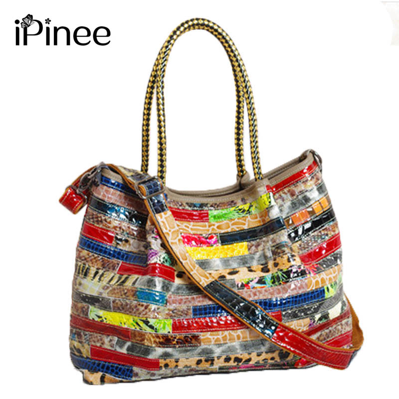 iPinee New Trend Casual Women Genuine Leather Bag Leopard Print Female Hobo Shoulder Bags High Quality Leather Tote Bag недорого