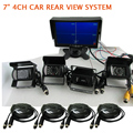 """FREE SHIPPING 12V - 24V 7"""" Quad Split Car Monitor 4 Channel Video View + 4 Waterproof Backup Rear View Camera for Bus Van Truck"""
