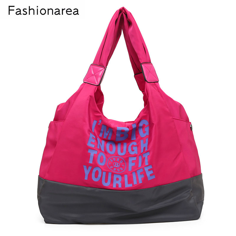 NEW ARRINAL Women Shopping Handbag Waterproof Shopping Tote Zipper Sac A Main Letter Print Lady Large Casual Nylon Beach Bags