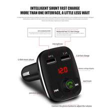 Dual USB Port Car Chargers Bluetooth FM Transmitters Handsfree Phone Calling Car Kits MP3 Player With TF Card Slot Fe24(China)