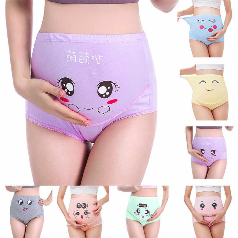 5d62300350d3b M-XXXL Pregnancy Maternity Clothes Cotton Women Pregnant Smile Printed High  Waist Underwear Soft Care