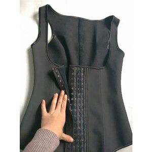 Image 4 - YUMDO 100% לטקס מותניים מאמן אפוד מחוך 4 שורות וו נשים גוף Shaper 9 פלדת עצמות מותן Cincher Shapewear Fajas שחור 6XL