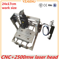 CNC 2417 GRBL Control Diy High Power Laser Engraving CNC Machine 3Axis Wood Router With 2500mw