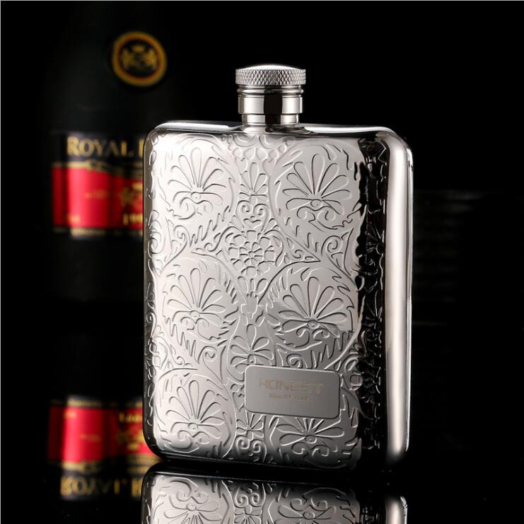 6OZ 304Stainless Steel Printing Hip Flask Embossed Flagon Flasks Russian Wine Beer Whiskey Bottle Alcohol Drinkware BJJ340